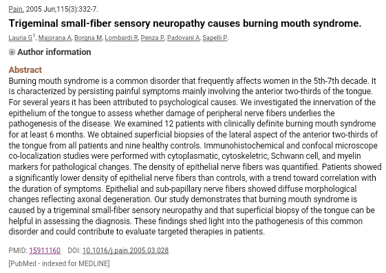 Trigeminal SFN burning mouth syndrome
